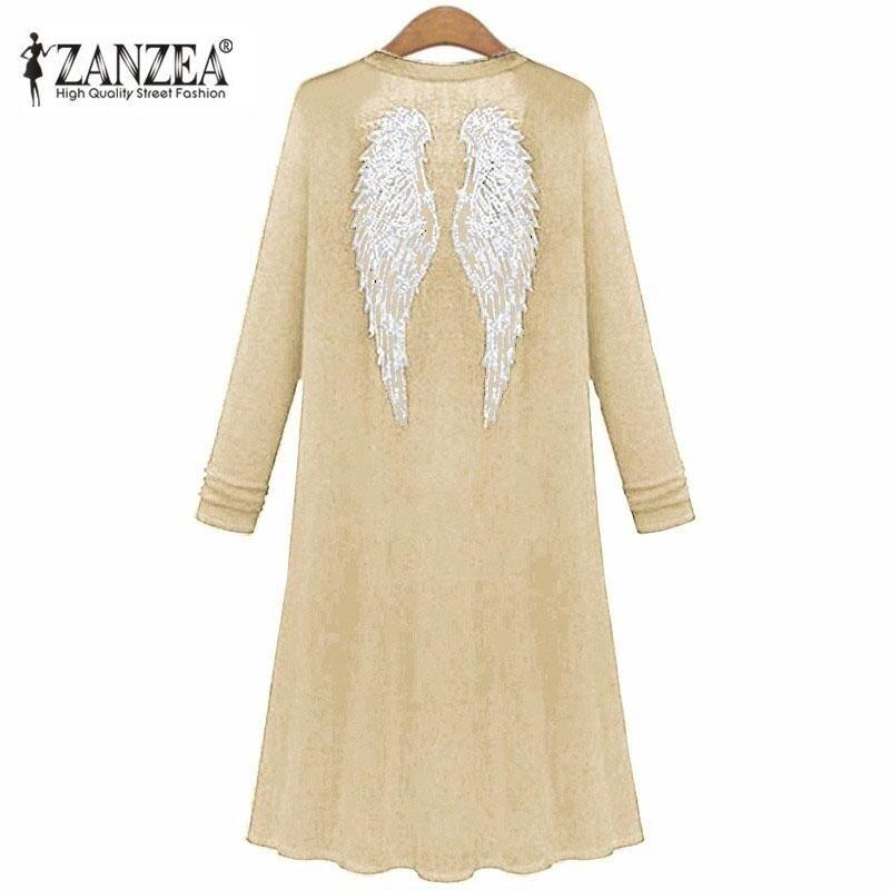 ZANZEA Summer Kimono Long Sleeve Back Wings Diamonds Cardigan Outwear Casual Sunscreen Blouse Shirts Beige - intl