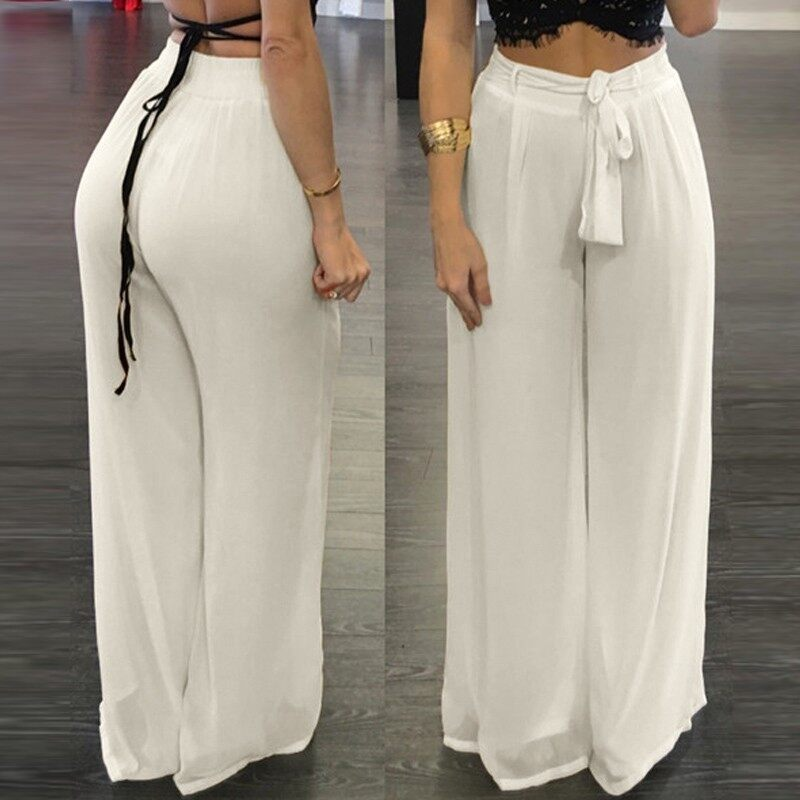 ZANZEA Women High Waist Palazzo Pants Wide Leg Loose Chiffon Long Pants Trousers - intl
