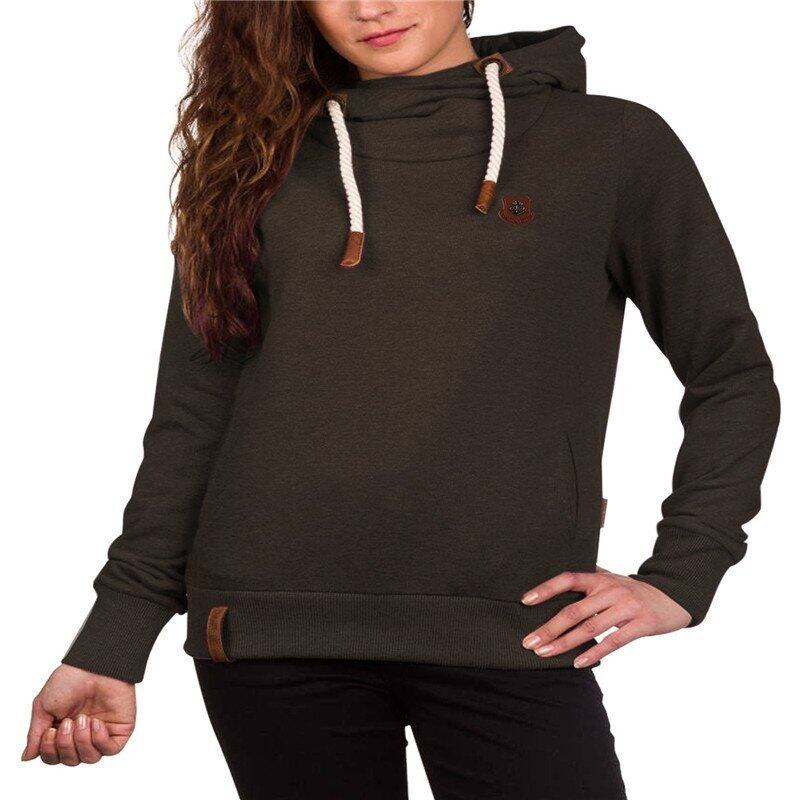 ZANZEA Women Hoodies Sweatshirts Autumn Long Sleeve Warm Hooded Casual Pullover Solid Outwear Tops Dark Grey - intl