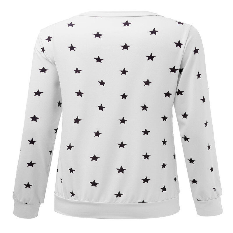 ZANZEA Women Long Sleeve Star Print Sweater Pullover Sweatshirt Jumper Top