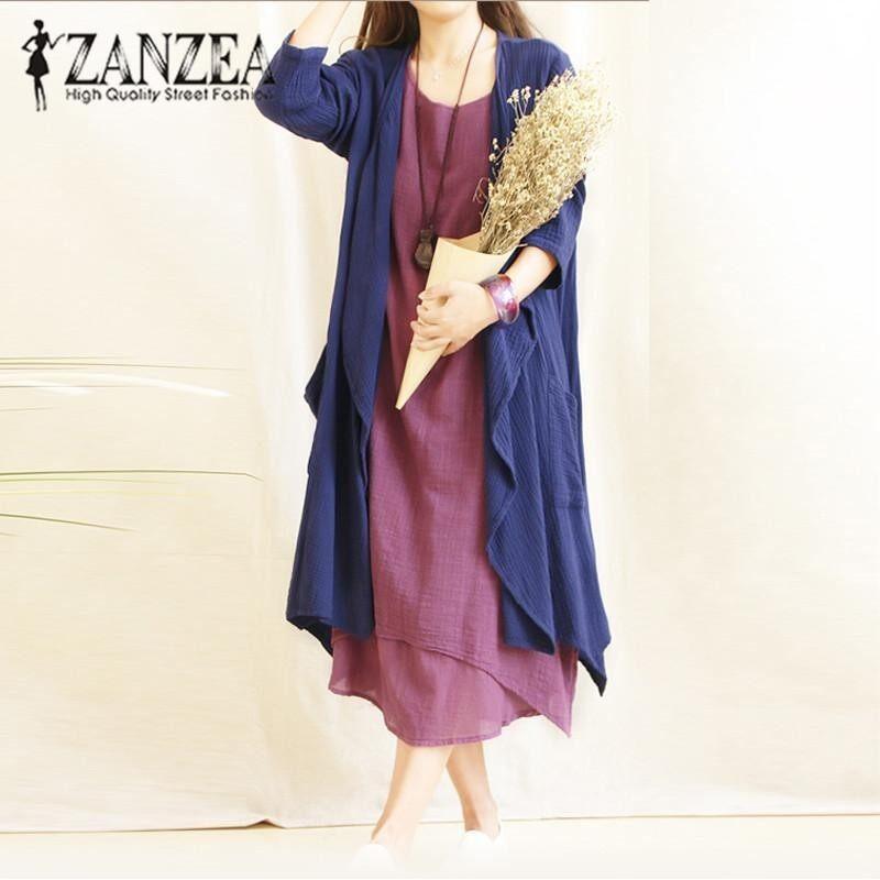 ZANZEA Women Open Stitch Waterfall Autumn Pockets Casual Long Sleeve Long Cardigan Cotton Linen Solid Coat Outwear Plus Size 5XL Navy - intl