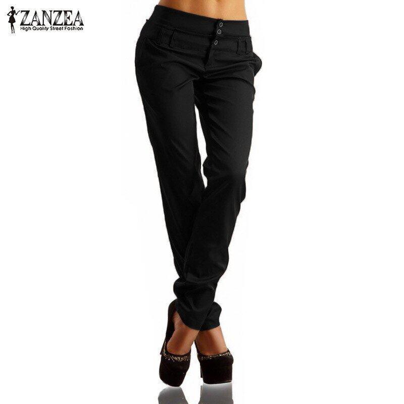 ZANZEA Women Pants Autumn High Waist Buttons Zipper Solid Long Trousers Casual Slim Pants Capris Plus Size (Black) - intl