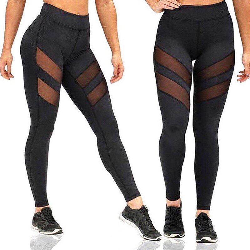 ZANZEA Women Pants Sexy Mesh Patchwork Fitness Leggings Ladies Casual High Elastic Waist Leggings Trousers Plus Size - intl