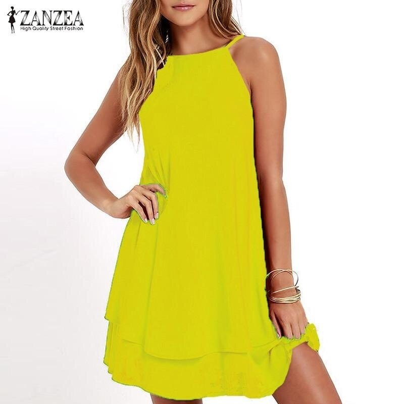 ZANZEA Women Strappy Loose Casual Solid Short Mini Dress Summer Beach Dress Plus (Yellow) - intl