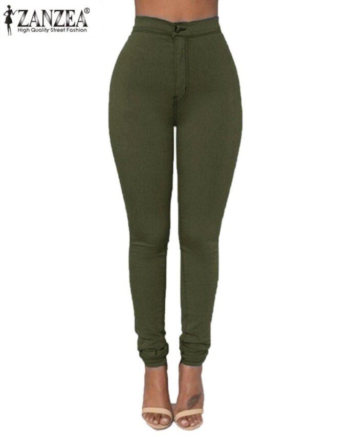 ZANZEA Women's Casual Slim High Waist Solid Stretchy Skinny Tights Pencil Pants Army Green - intl