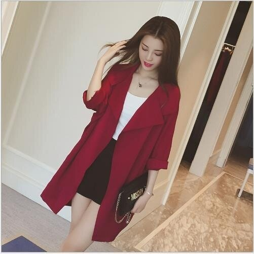 ZH Korean autumn color in the long thin coat loose cardigan collar sleeve dress coat seven red - intl