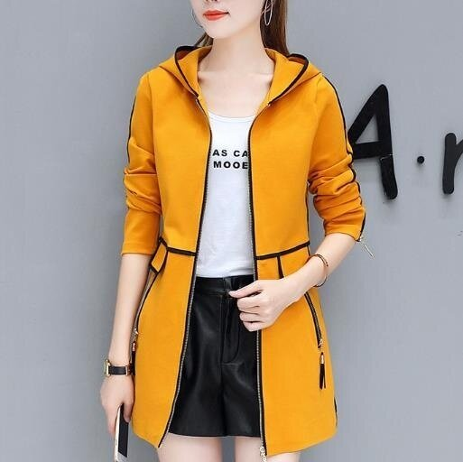 ZH Korean women windbreaker all-match leisure thin coat in the long section of the tide yellow - intl