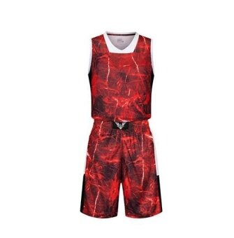 ZH Men's Basketball Uniform Camouflage Colored Stone Basketball Shirt Training Uniforms Red - intl