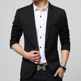 ZH Shopping Men's Korean youth small suit coat of cultivate one's morality Black - intl