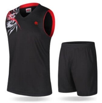 ZH The Men's Basketball Team Uniform Breathable And ComfortableBasketball Suit Black