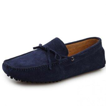 ZHAIZUBULUO Men Fashion Flats Shoes Casual Leather Boat shoesLX-2081(Blue) - intl