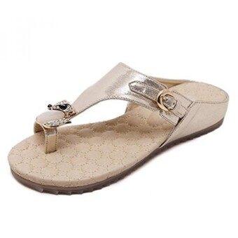 Zicac Womens Clip Toe Sandal Flip-flops Rhinestone Flat Shoes (9 Gold) - intl