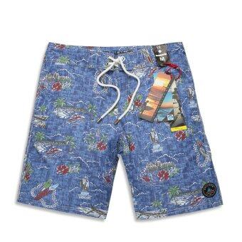 ZNPNXN Cotton Men's Beachwear 100%CottonWater Repellent Shorts (Blue)