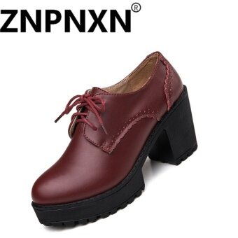 ZNPNXN Ladies Boots Shoes Single Shoes Carrefour Shoes Fall New(Burgundy) - intl