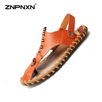 ZNPNXN Men'S Shoes Pure Hand Made Cowhide Sandals In Summer Soft Leather Shoes Face Mens Shoes Casual Luxury Sapato Masculino Size 38-44 Yards(Red Brown) - intl