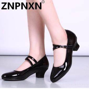ZNPNXN New Dance Shoes Low-Heeled Shoes Female Square Dance Shoes Latin Dance Shoes Shallow Mouth Shoes(Black) - intl