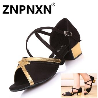 ZNPNXN New Girl Latin Dance Shoes Girl Practicing Shoes Low Profile Children Dancing Shoes Leather Indoor Dance Shoes(Black) - intl