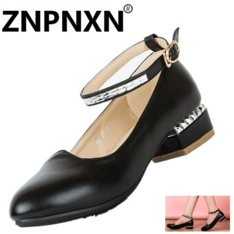ZNPNXN New Square Shoes Shoes Wear Low-Heeled Shoes Shoes Shallow Mouth Shoes(Black) - intl