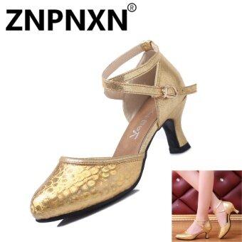 ZNPNXN Sequins Adult Latin Shoes Female Communication Modern Dance Shoes Summer New Dance Shoes(Gold) - intl