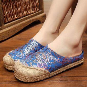 ZNPNXN Women's Thailand Shoes Straw shoes Silp-on Shoes Mocassins & Loafers (Blue)