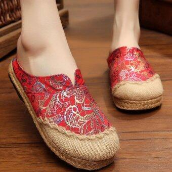 ZNPNXN Women's Thailand Shoes Straw shoes Silp-on Shoes Mocassins& Loafers (Red)