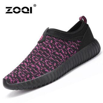 ZOQI แฟชั่นหน้าร้อนสาวแบนตั้งแต่ปีมะโว้รองเท้าลำลองสบายหายใจ\n(สีม่วง)