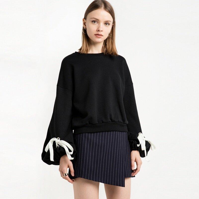 ZOQI European style sweater Loose Long Sleeves Straight Lantern Sleeves Straps (Black) - intl