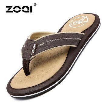 ZOQI ซัมเมอร์ชายสบาย Flip Flops\nแบนรองเท้าแฟชั่นหายใจหายคอสะดวก/สไลด์สีน้ำตาล