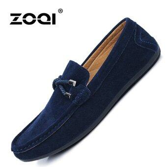 ZOQI man's Slip-Ons&Loafers fashion cow suede leatherShoes(Blue) - intl