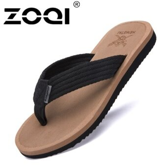 Harga ZOQI Men's Fashion Flip Flops Summer Beach Shoes (Brown) - intl