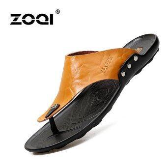 ZOQI Men's Fashion leather Flip Flops Summer Shoes Beach\nShoes(Brown) - intl