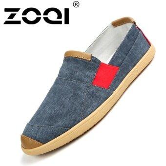 รองเท้าแฟชั่นผู้ชาย ZOQI SLIP-Ons รองเท้าผ้าใบรองเท้าลำลอง (สีฟ้า)