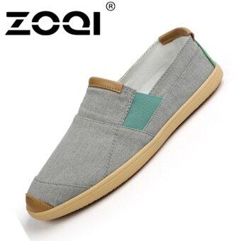 รองเท้าแฟชั่นผู้ชาย ZOQI SLIP-Ons รองเท้าผ้าใบรองเท้าลำลอง (สีเทา)