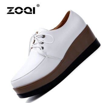 ZOQI Summer Woman's Closed-Toe Wedges Genuine Leather heighten Casual Comfortable Shoes (White) - intl