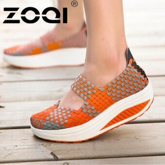 Harga ZOQI Women Casual Shoes Breathable Handmade Woven Shoes Comfortable Light Weight Flat Shoes (Orange) - intl