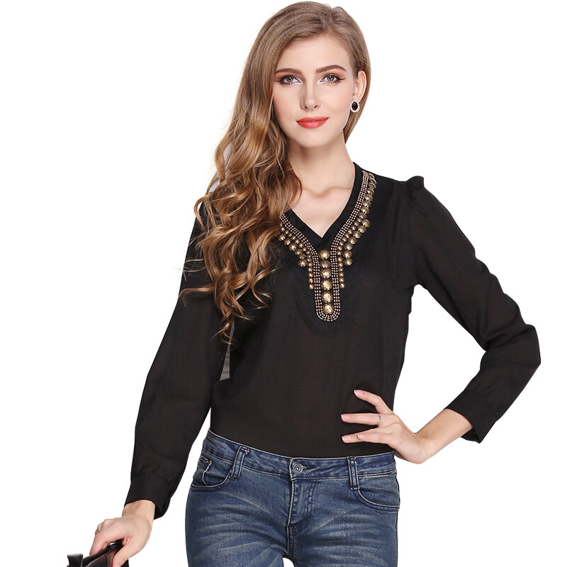 ZUNCLE Copper Retro Chiffon Long-sleeved Shirt(Black) - intl
