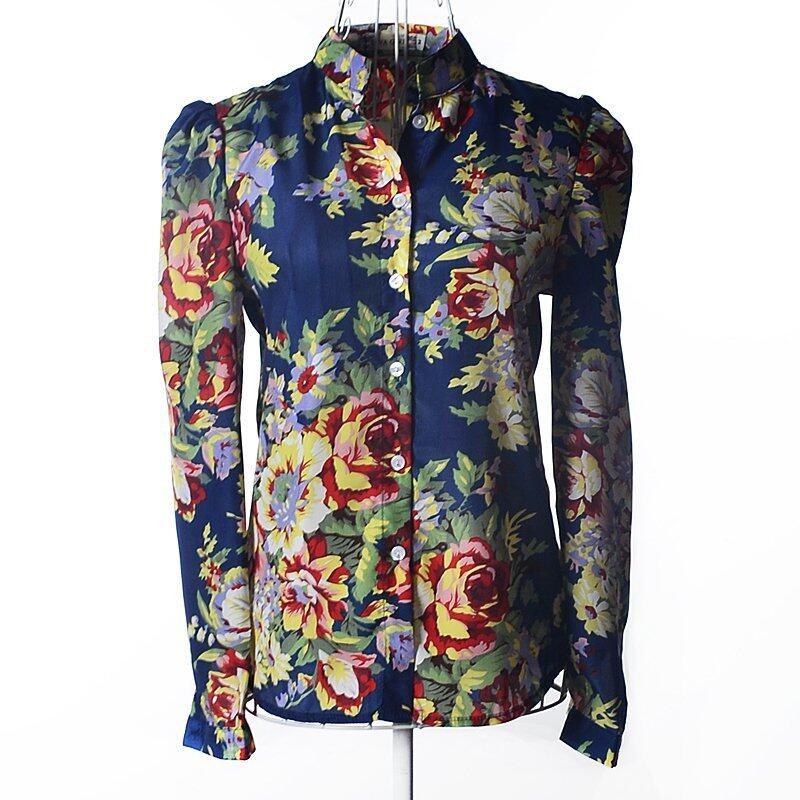 ZUNCLE Floral Chiffon Shirt Tops(Blue+Red+Green) - Intl - intl