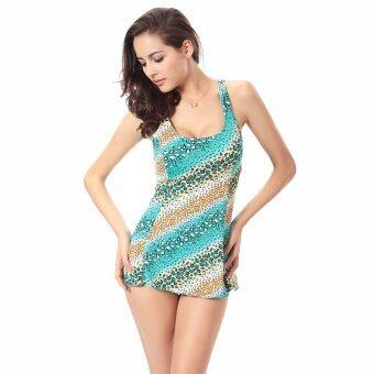 ZUNCLE Floral Skirt Style Bikini Swimsuit(Blue)