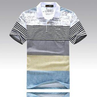 ZUNCLE Mens Striped Lapel Short Sleeve T-shirt Cotton POLOShirt(White)(Int:M)-intl