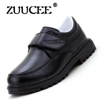 ZUUCEE รองเท้าเด็กแฟชั่นฤดูใบไม้ผลิและฤดูใบไม้ร่วงรองเท้าหนังเด็ก (สีดำ)
