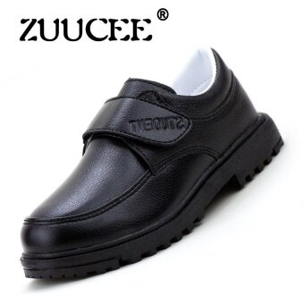 ZUUCEE Boy's Fashion Spring and Autumn Leather Shoes Children's Shoes(Black) - intl