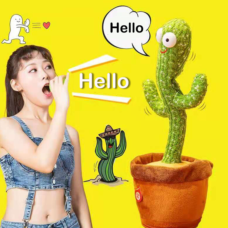 น้องบอง พร้อมส่ง ถูกที่สุด กระบองเพชรเต้น กระบองเพชรพูดได้ Dancing Cactus 120 เพลงตุ๊กตาของเล่นสําหรับเด็ก
