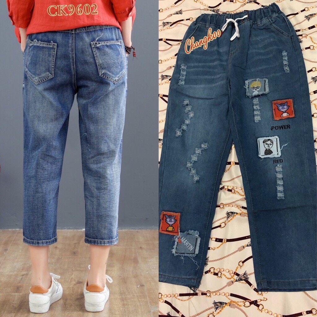 กางเกงยีนส์เอวยางยืด เสื้อผ้าแฟชั่นผู้หญิง กางเกง กางเกงยีนส์ กางเกงยีนส์ปักลาย น่ารัก นิ่มใส่สบาย เนื้อผ้าดี สีไม่ตก