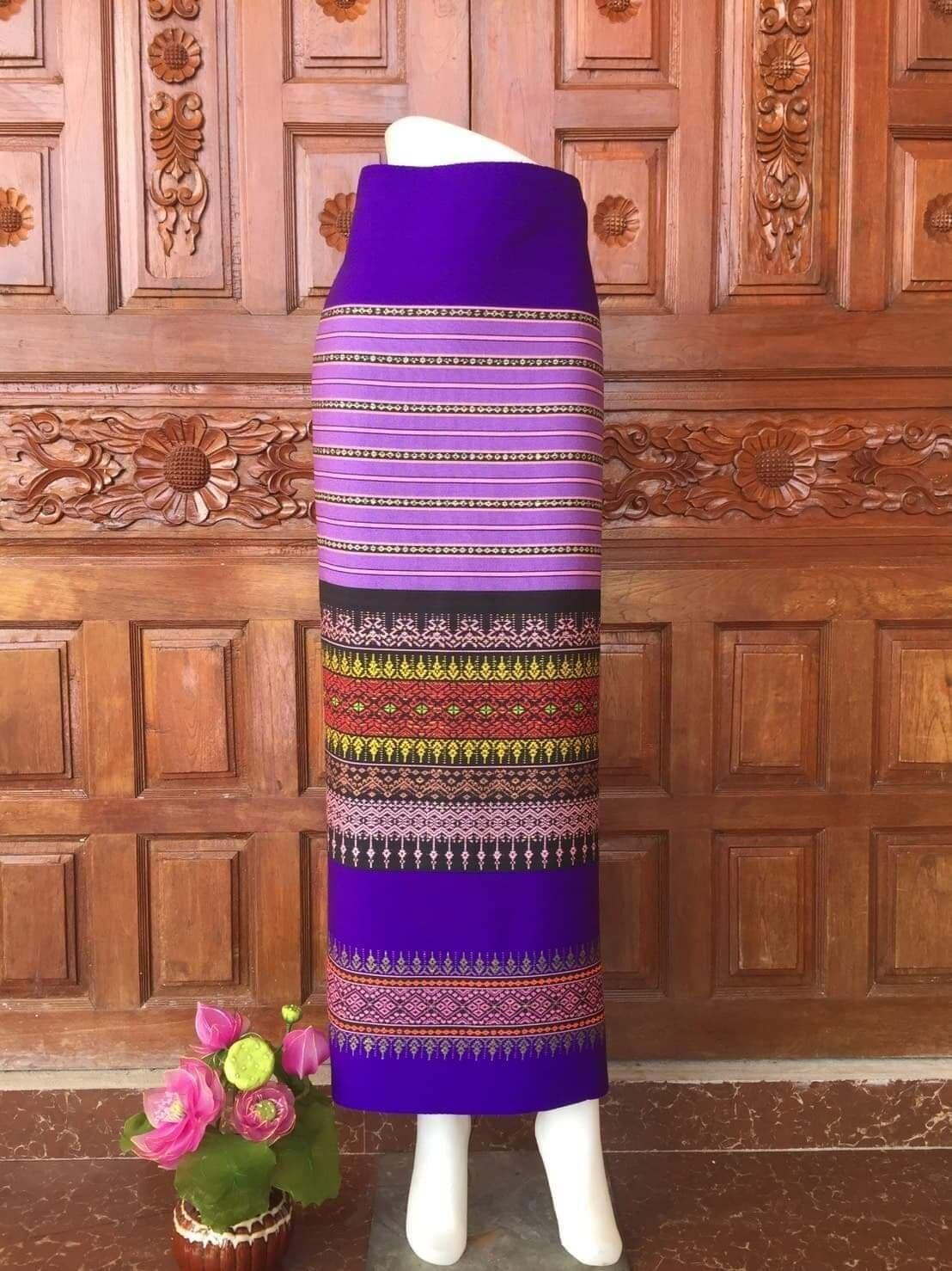 ผ้าฝ้าย ผ้าถุง ผ้าซิ่น ผ้าทอเต็มทั้งผืน สีไม่ตกค่ะ(ผ้ายังไม่ได้ตัดเย็บขนาด 180X100 cm)