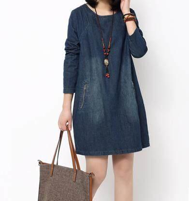 ... Gaun Jeans Wanita Digosok Putih Lengan Panjang Ukuran Besar Versi Korea (Gambar warna) -