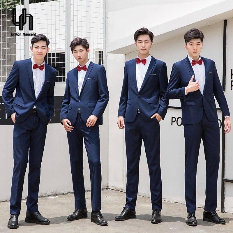 UN ชุกสูทสไตล์เกาหลีชุดสูทสลิม 3 ชิ้น ชุดเจ้าบ่าวชุดแต่งงานผู้ชายเสื้อผ้าผู้ชายสบาย ๆ เสื้อสูทแต่งงาน + เสื้อ + กางเกง