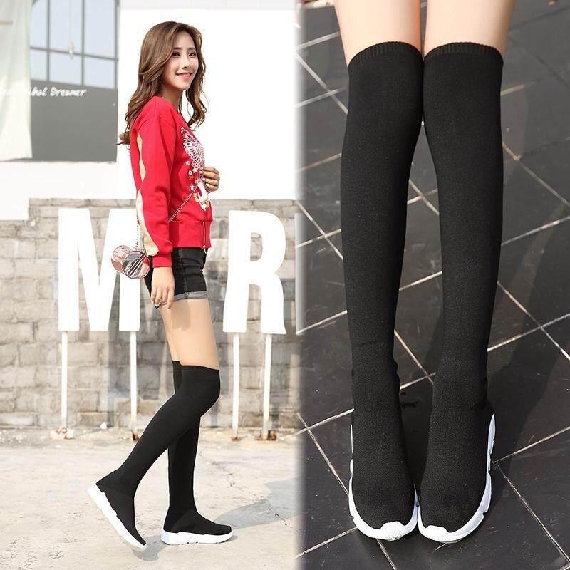 Detail Gambar Kaus kaki wanita Gaya Barat 2018 Musim Semi dan Musim Gugur model  baru Panjang hak wedges Sepatu bot lutut sepatu bot wanita sepatu wanita ... bc41e25dfb
