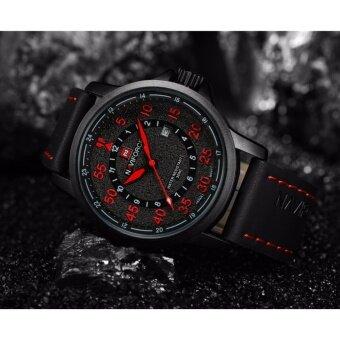 ประเทศไทย รับประกัน 1 ปี NAVIFORCE นาฬิกาข้อมือระบบควอตซ์ สายหนัง รุ่น NF9076-BRB สีดำแดง