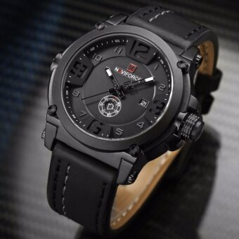 รับประกัน 1 ปี สินค้าอยู่ในไทย-นาฬิกา NAVIFORCE รุ่น NF9099 สายหนัง เครื่องญี่ปุ่น กันน้ำ 30 เมตร แสดงวัน/วันที่