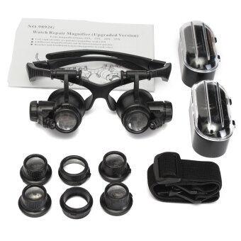 10X 15X 20X 25X Upgraded LED Double Eyes Jeweler Watch RepairGlasses Loupe Lens - Intl · >>>>